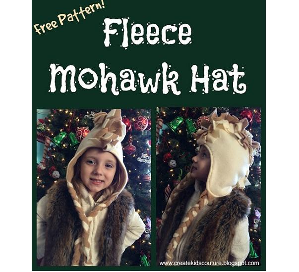 Free pattern: Fringed fleece Mohawk hat for kids