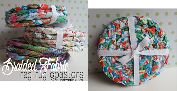 Tutorial: Braided fabric rag rug coasters
