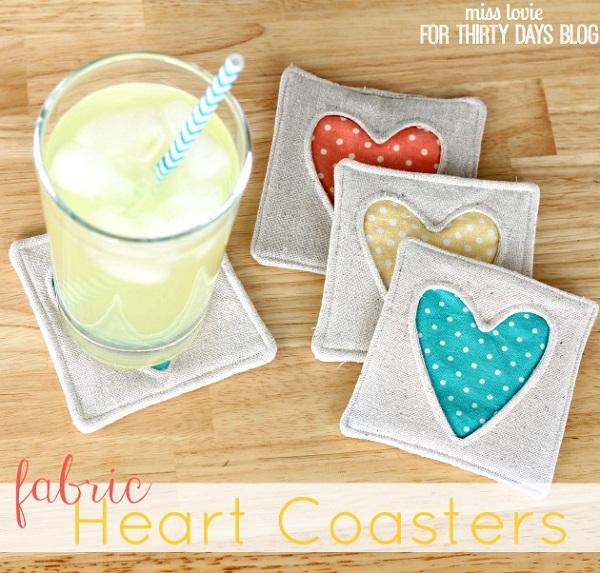 Tutorial: Reverse applique heart coasters