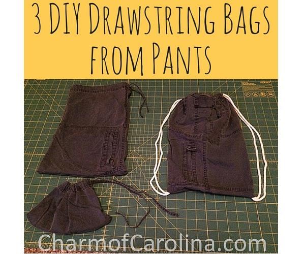 Tutorial: Turn 1 pair of pants into 3 drawstring bags