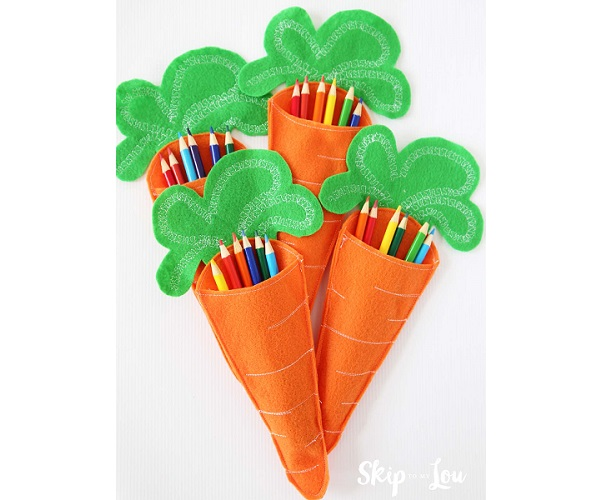 carrot treat pouch easter felt pattern free pattern felt carrot pencil holders sewing 7487