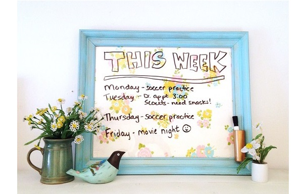 Tutorial: Dry erase memo board with vintage fabric