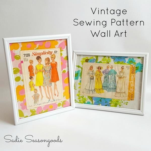 Tutorial Vintage Sewing Pattern Wall Art Sewing
