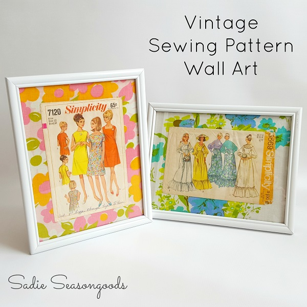 Tutorial: Vintage sewing pattern wall art