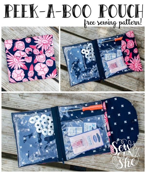 Free Pattern Peek A Boo Pouch Organizer Sewing