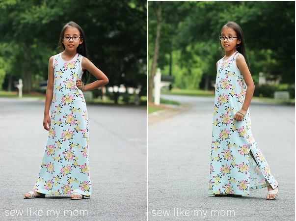 Tutorial: Make a girls summer maxi dress from a t-shirt pattern