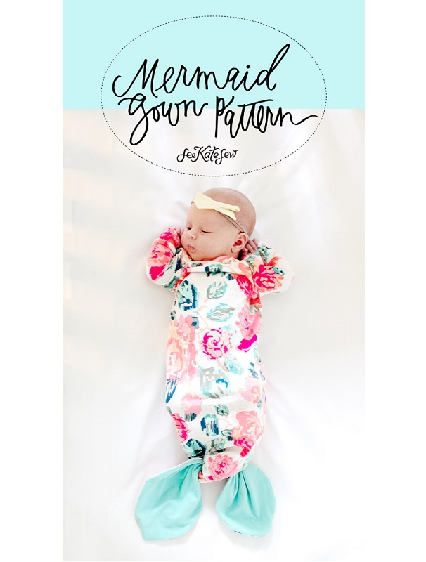 Free Pattern Knotted Mermaid Tail Baby Gown Sewing