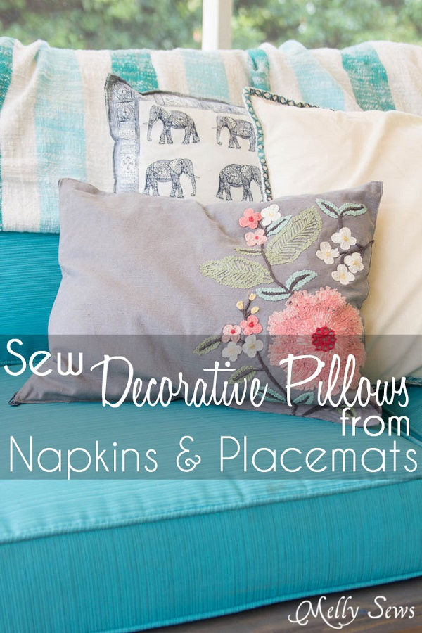 Tutorial: Make gorgeous throw pillows from placemats and napkins