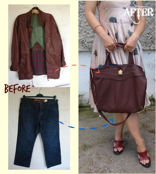 Tutorial Recycled Leather Jacket Tote Bag Sewing