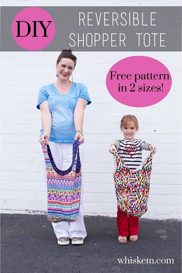 Free pattern: Reversible shopper tote in adult and kid sizes