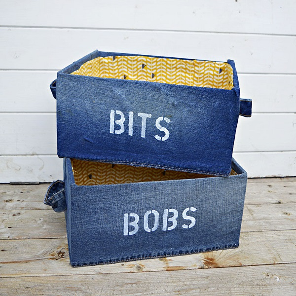Tutorial: Recycled jeans storage boxes