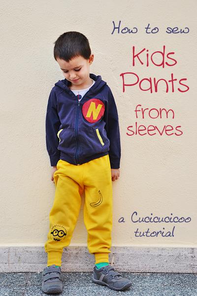 Tutorial: Make kids pants from sweatshirt sleeves