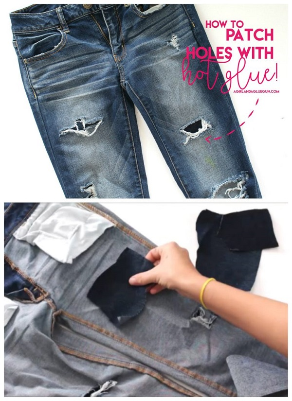 Tutorial: Use hot glue to patch holes in your jeans