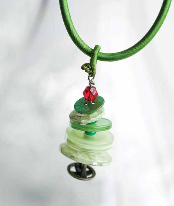Tutorial Christmas tree button pendant