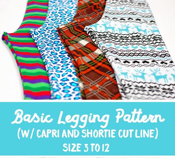 Free pattern: Girls basic leggings, capris, and shorties