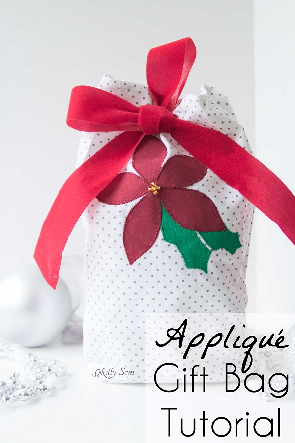 Tutorial: Reusable appliqued fabric gift bag
