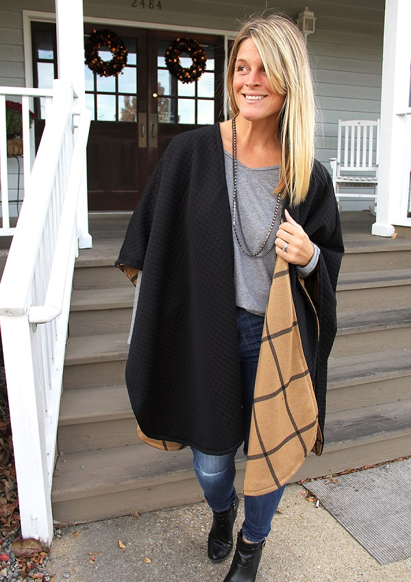 Tutorial: Reversible poncho wrap