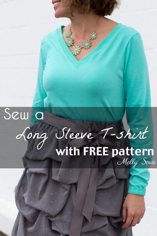 Free pattern: Long sleeve V-neck t-shirt