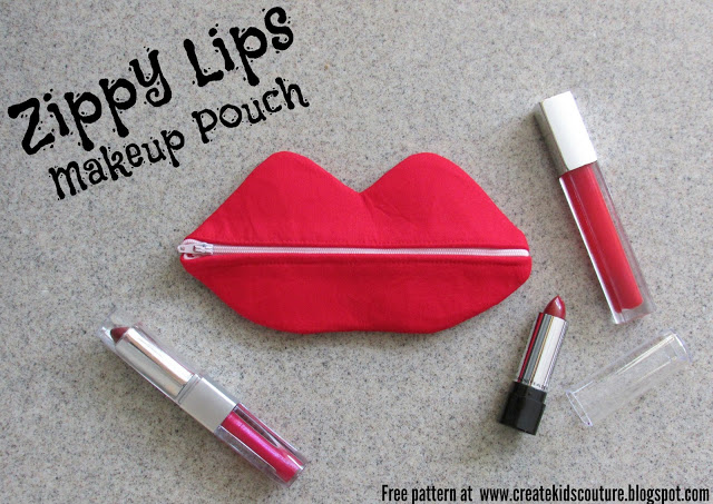 Free pattern: Zippy Lips zipper pouch