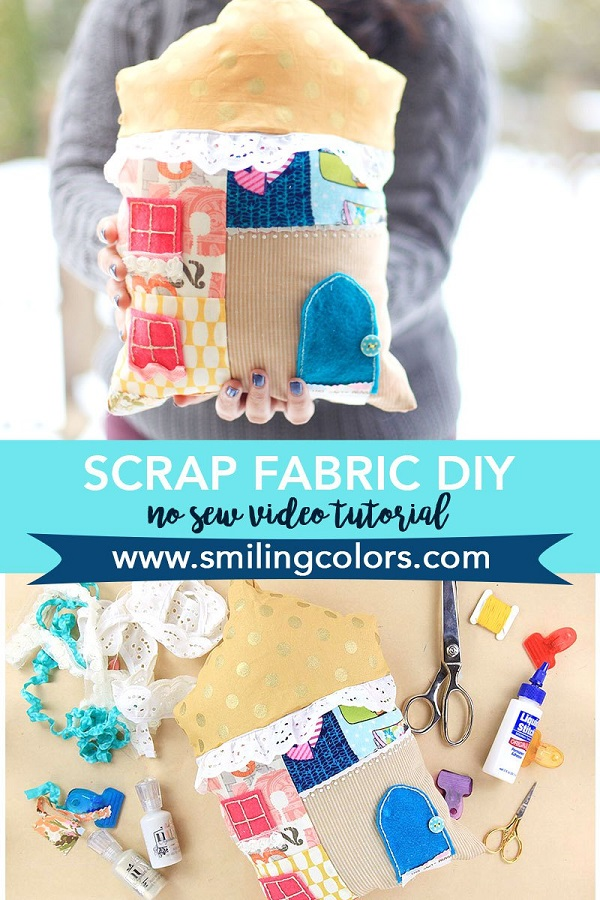 Video tutorial: No-sew scrap fabric house pillow