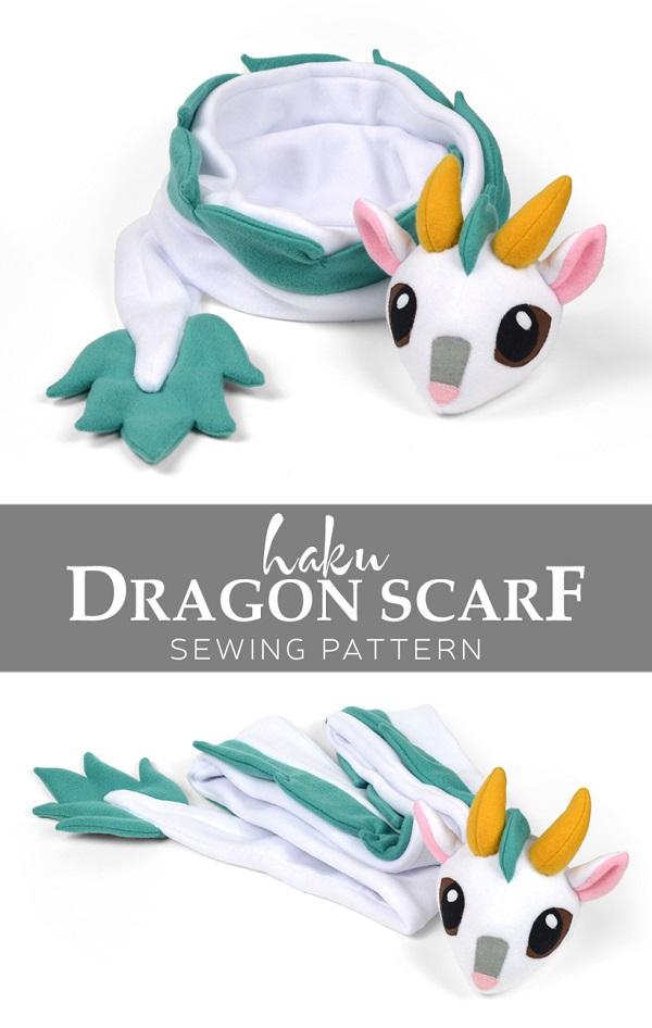 Free pattern: Fleece Haku dragon scarf – Sewing
