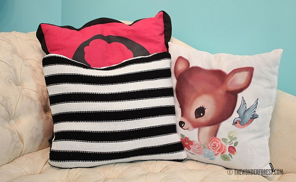 Tutorial: Recycled pillow throw pillow cover