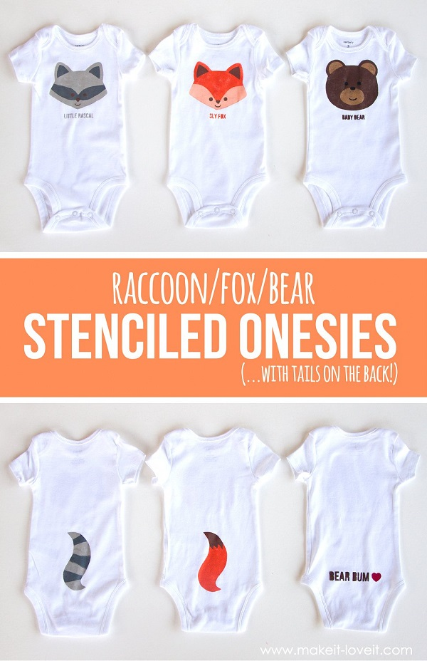 Tutorial And Template Woodland Stenciled Onesies Sewing