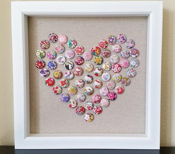 Tutorial Fabric Button Heart Art Sewing