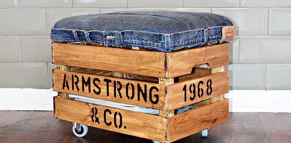 Tutorial: Wood crate ottoman with recycled jeans cushion