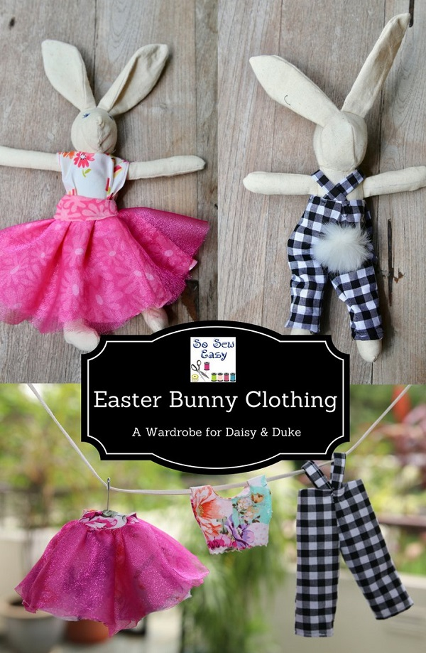 Tutorial and pattern: A pair of bunny softies with wardrobes
