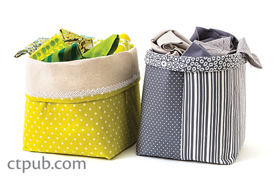 Tutorial Fat quarter fabric storage baskets