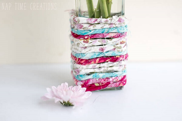 Tutorial Scrapbusting fabric wrapped vase