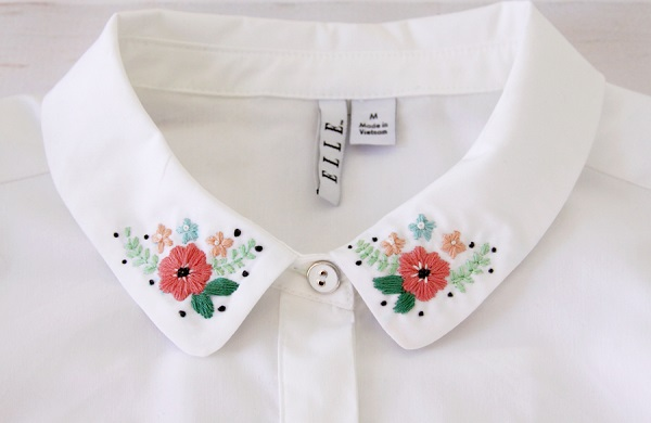 Tutorial: Floral embroidered shirt collar