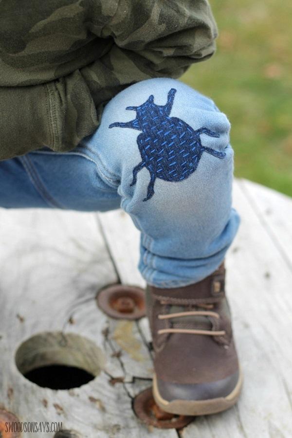 DIY sashiko stitched jeans patches
