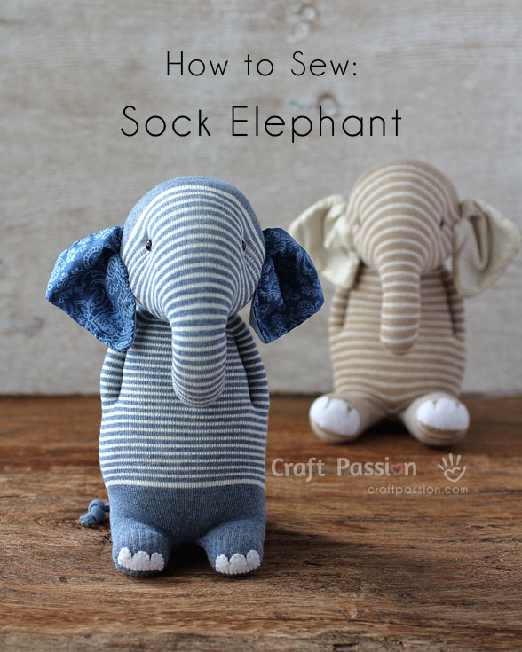 Tutorial and pattern: Sock elephant softie