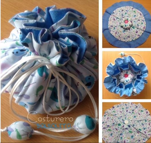 Tutorial and pattern: Drawstring sewing bag with lots of pockets