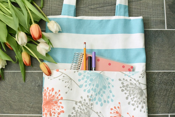acc8390b6670 Tutorial: Simple tote bag with outside pocket – Sewing