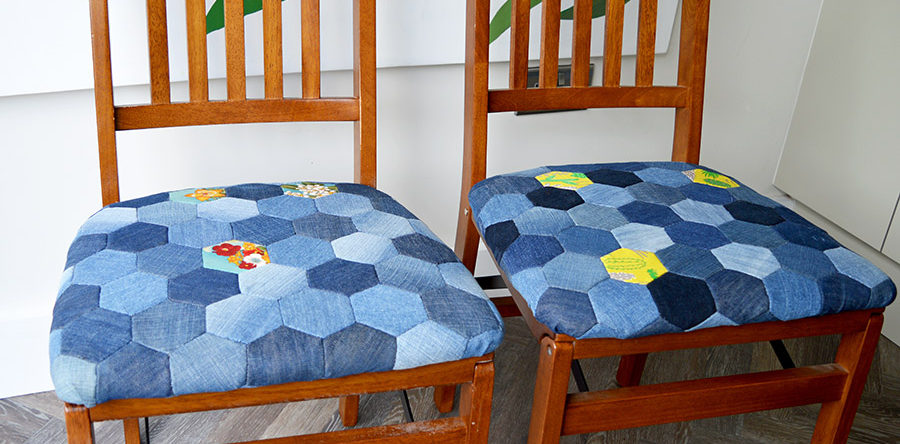 Tutorial Upcycled denim patchwork chair cushions