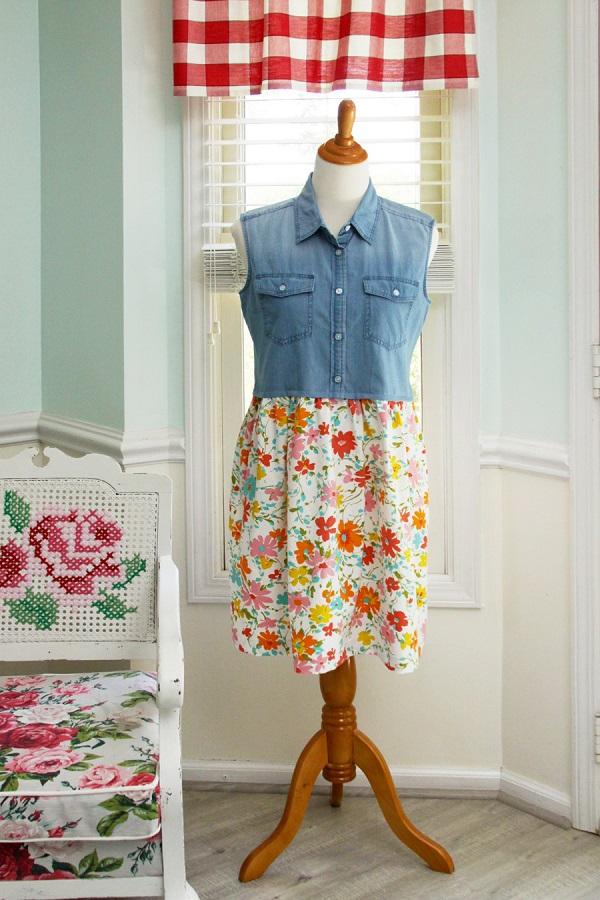 Tutorial: Denim top and vintage sheet dress