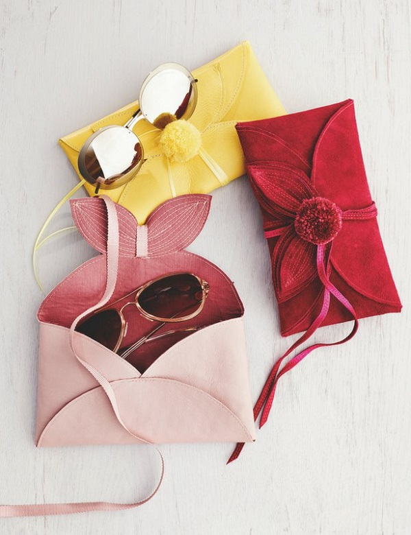 Tutorial and pattern Leather flower sunglasses case
