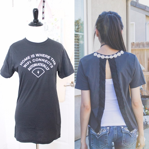 Tutorial: Trendy split back t-shirt refashion