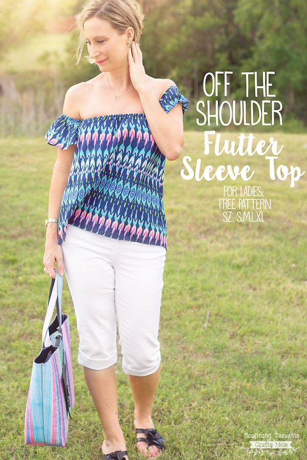 Tutorial and pattern: Off the shoulder flutter sleeve top