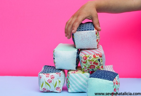 Tutorial: Mini charm square fabric baby blocks