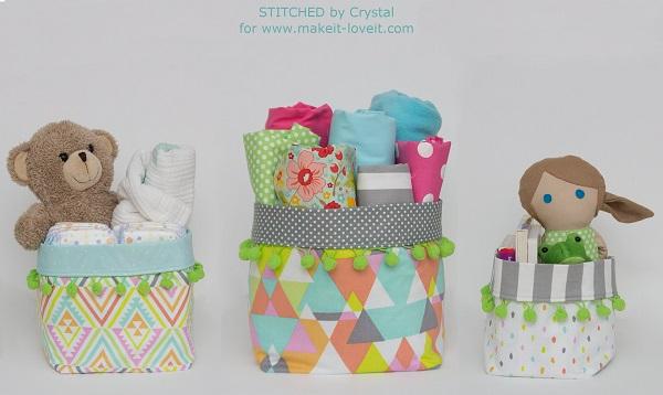 Tutorial: Pom Pom fabric bins in three sizes