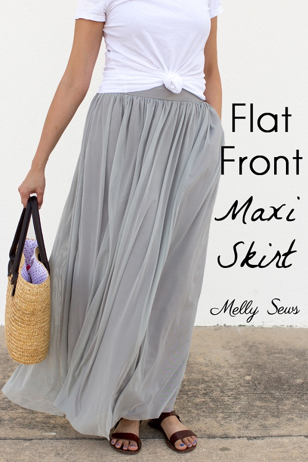 Tutorial: Maxi skirt with a flat front waistband