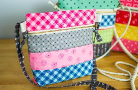 Tutorial: Patchwork cross body zip bag