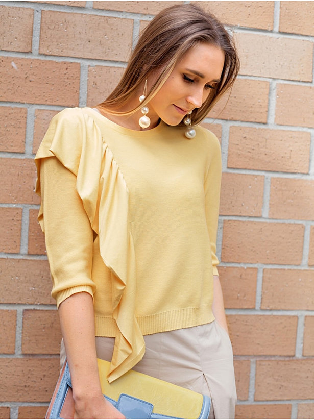 Tutorial: Add an asymmetrical ruffle to a blouse