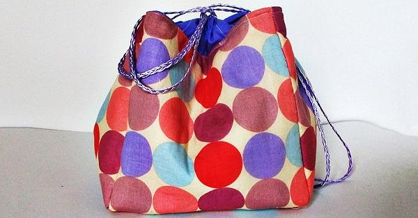 Tutorial Sew a kinchaku Japanese drawstring bag