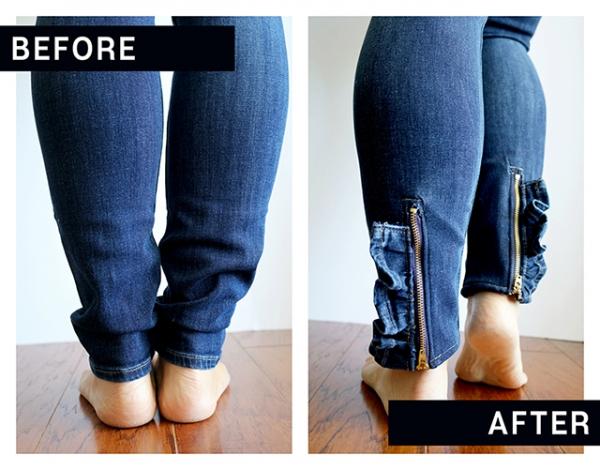 Tutorial: Ruffle zipper ankle jeans