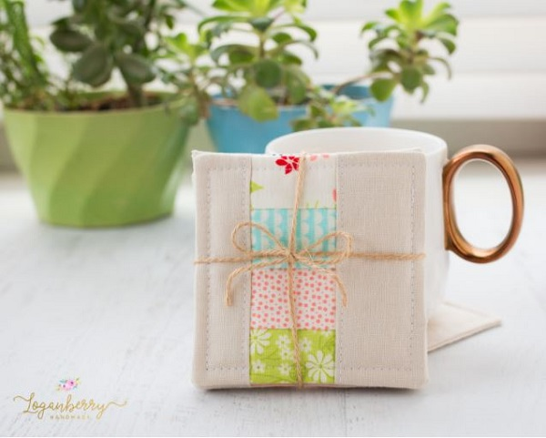 Tutorial: Scrappy patchwork coasters